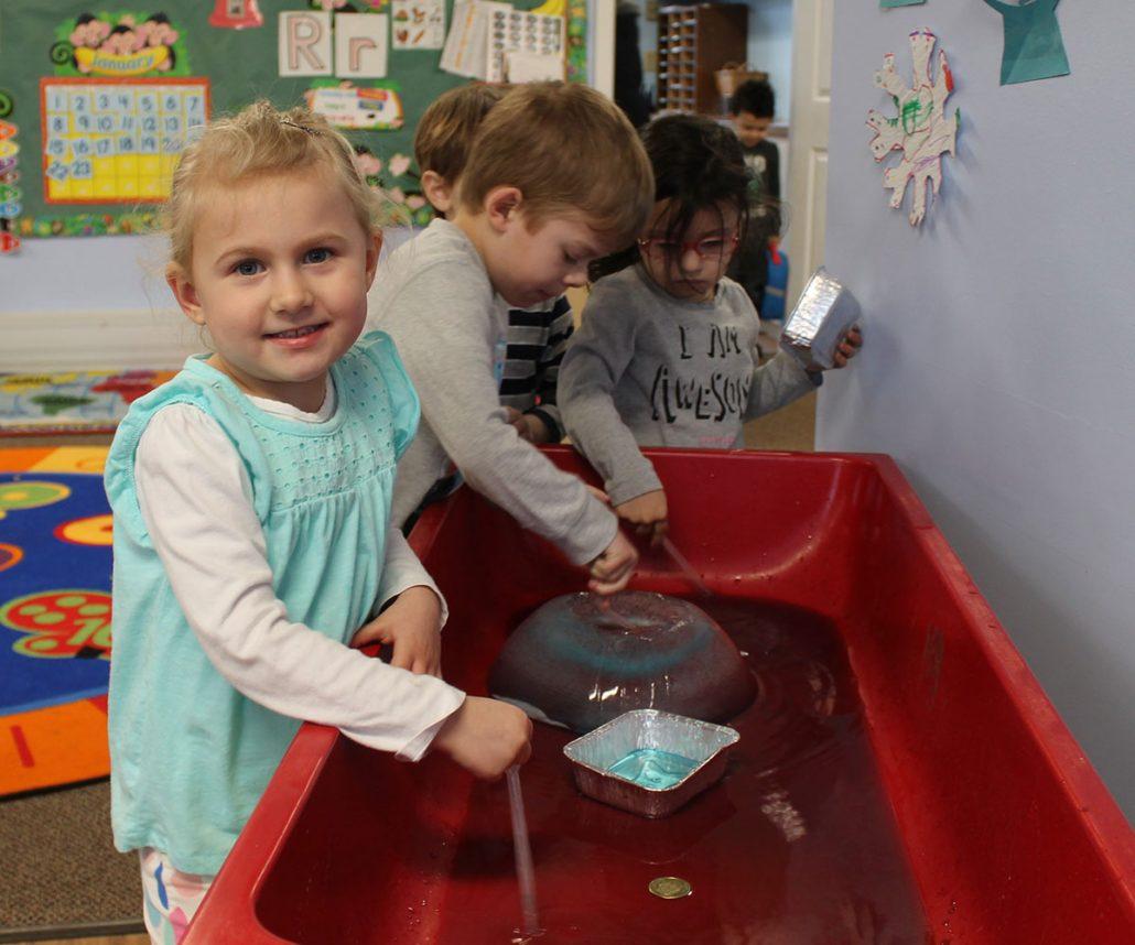 Children at sensory table